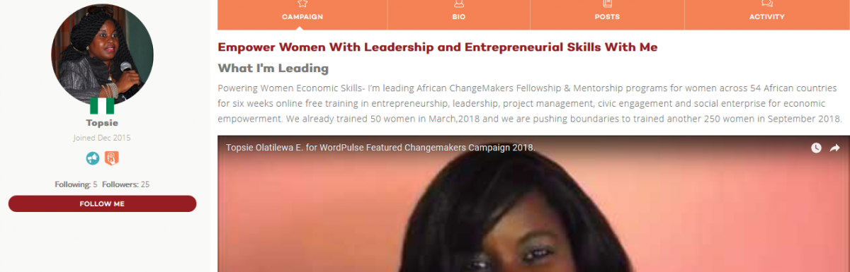 World Pulse Names Olutope (Topsie) Olatilewa E. of Nigeria a Featured Changemaker During Economic Power Campaign.